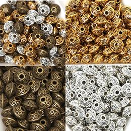branelli acrilici di velluto all'ingrosso Sconti 50 Pz / borsa 6mm Perle di Metallo Tibetano Antico Oro Argento Ovale Forma UFO Branelli Allentati del distanziatore per Monili Che Fanno FAI DA TE Bracciale Charms