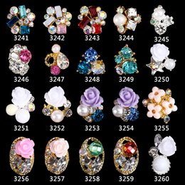 Flores de resina de arte de uñas online-100 unids / lote Rose Flower Design 3D Nail Art Jewelry Rhinestones Colorful Resin Flower Nail Charms Decoración Accesorios 3241-3260