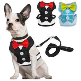 Wholesale Vest Bowtie - Fashion Red Bowtie Gentleman Suit Boy Dog Tuxedo Easy Walk Harness Vest Dog Leash Leads Set For Small Medium Dogs S M L