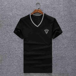 Wholesale t shirts cotton modal - Modal Slim-type Cotton V-neck Casual Pullover Superior Quality Short Sleeve Men's Top Design Couple T Shirt