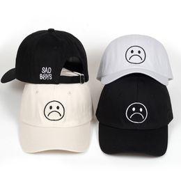 8134c506e11 Sad Boys dad hat Adjustable cotton Harajuku Skateboard Hats crying face  Baseball cap cotton Black Hats Curve golf Caps wholesale