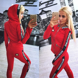 Wholesale Wool Sport Pants - Women Tracksuits Women Long Sleeves Zipper Pullover Sexy Sport Suit Hoodies With Pant Jogging Sportswear Costume 2pc Women Set