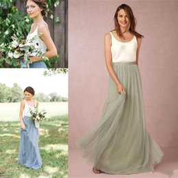 66c22cc2325 Modest Country Boho Bridesmaid Dresses 2018 White Top Tulle V-neck Low Back Wedding  Guest Bridesmaids Gowns Two Pieces Party Dress BA2571