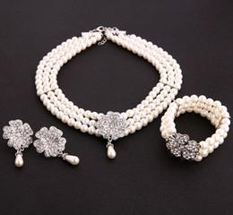 Elegante perle gesetzt armbänder online-Ohrringe für Frauen 2018 Elegante Perle Brautschmuck Sets Silber Farbe Kristall Halsketten Ohrringe Sets Hochzeit Schmuck