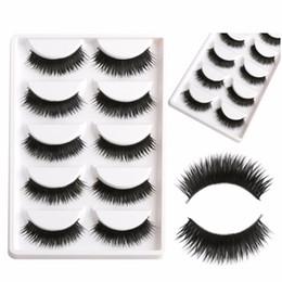 Conseils naturels pour le maquillage en Ligne-Faux EyeLashes 1 Boîte de 5 paires de cils noirs épais Faux conseils de maquillage