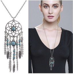 Wholesale Wholesale Native American - whole saleH:HYDE Collier Femme Plume Dreamcatcher Native American Fringe Necklace Collier attrape reve Colares Boho Chic Collana