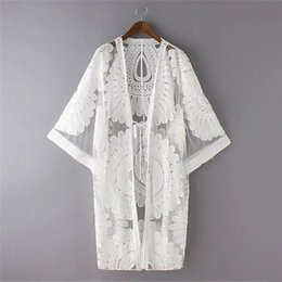 7f783fcc8d New Summer Swimsuit Lace Hollow Crochet Beach Bikini Cover Up 3 4 Sleeve  Women Tops Swimwear Beach Dress White Tunic Shirt