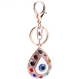 Wholesale Devil Eyes - Creative Blue Devil Eye Design Key Charms Turkey Colorful Rhinestone Bling Keys Ring Alloy Unique Women Favor Keychain 7 02gf Z