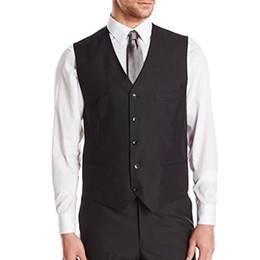 Chalecos de traje negro de los hombres sin mangas casuales padrinos de boda  con cuello en v hombres de negocios chaleco de traje Foviva Style 121920 17d25229b56