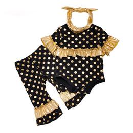 Romper rosa de ouro on-line-3 Pçs / set Meninas Do Bebê Conjuntos de Roupas de Ouro Dot Plissado Romper e Calça Infantil Preto / Rosa Princesa Moda sorte criança Roupas