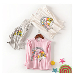 Wholesale Little Korean Girl Clothes - Baby Girls Unicorn T Shirts Long Sleeves with MY LITTLE Unicorn Print Korean Boutique Children Clothing Ruffles White Pink Gray 3-12yrs