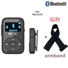base maestra Rebajas Mini original RUIZU X26 Clip Bluetooth Reproductor de MP3 8GB Deporte reproductor de música mp3 Grabador Radio FM Soporte TF Tarjeta + Brazalete gratis