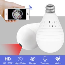 security camera day night Promo Codes - Light 960P Wireless Panoramic Home Security WiFi CCTV Fisheye Bulb Lamp IP Camera 360 Degree ONVIF Night Vision YITUO