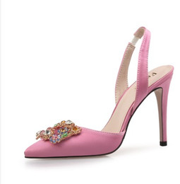 Wholesale crystal pointed back rhinestones - Rhinestone silk diamond crystal pointed toe nude color high heel slling back high heel party Event dress shoes 429