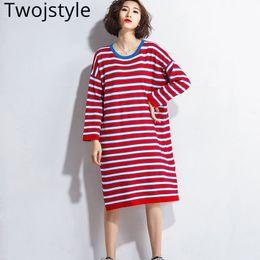 hohe taille lange rote kleider Rabatt Twojstyle 2018 Frühling Herbst Frauen  Pullover Kleid Mode Hohe Taille ffdb77d79b