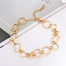 Wholesale Trendy Bracelets For Girls - 2018 Trendy hot Titanium steel good quality hollow heart star flower bears charm link chain bracelet gift jewelry for women girls