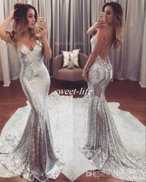 Wholesale Blue Naturals - Sparkly Silver Prom Dresses Backless Spaghetti Straps with Train 2018 Sexy Cheap Special Occasion Dresses Women Evening Party Queen Gowns