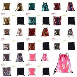 Wholesale wholesale gym drawstring bags - Glitter Mermaid Sequins Backpacks Drawstring Portable Glittering Shoulder Bag Outdoor Bag Gym Sport Sack Bag 36*42cm BBA192
