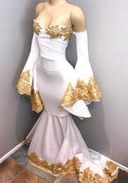 women plus cheap evening dresses NZ - White and Gold Prom Dresses 2018 Long Sleeves Lace Appliques Plus Size Evening Gowns Women Formal Party Dresses Cheap ME061