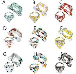 Wholesale baby ties pattern - 13designs Baby headband 2ps sets DIY headband & Kids triangle bibs 0-3Y Girls cartoon animals fruits geometry patterns printing bibs costume