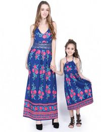 Argentina Madre hija ropa familiar partido Vestido madre e hija juego azul impresión Splice encaje honda Fot mamá y yo ropa Suministro