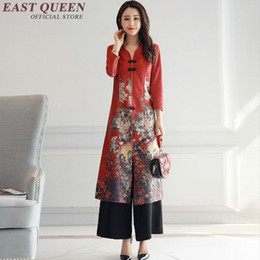 51d2194bedac Vintage floral modern qipao dress oriental style dresses casual business  women clothing two piece set top and pants AA2922 YQ