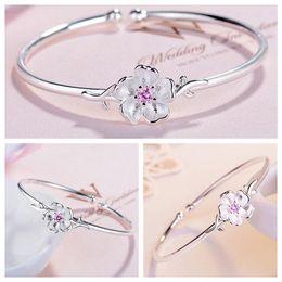 Wholesale sakura tree - Fashion Plated Silver Sakura Cherry Blossoms Flowers Tree Branches Pendants Bracelet Simple Open Ri