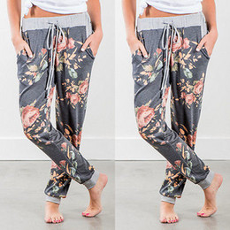 Wholesale hiphop harem pants - Womens Lady Loose Casual Floral Harem Pants Jogger Dance HipHop Slacks Drawstring Trousers