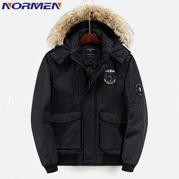 Wholesale Men Over Coats - NORMEN Men's Fashion Solid Hooded Parkas with Fur Collar Winter Jacket Men Cotton Padded Man Over Coat Jaqueta Masculina Inverno