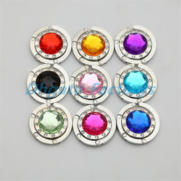 9 Color de Cristal Acrylicl DIY Bolsa de Bolso Brillante Brillante Bolsa de Suspensión Etiqueta Plegable Titular de Gancho desde fabricantes