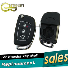 Wholesale hyundai elantra remote - 10 PCS I20 I30 Elantra Genesis Flip Remote Key Shell 3 Button for Hyundai Remtekey Smart Remote Key Shell Case Car Accessories