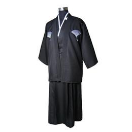 2019 abiti americani cinesi Nero Vintage giapponese uomo raso di seta Kimono Warrior Yukata Haori Costume di Halloween Stage Performance Abbigliamento Taglia unica