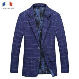 Wholesale Slim Hot Plaid Suit - Langmeng 2017 Suit Jackets Hot Men Dark Blue Plaid Men Blazer Slim Fit Double Breasted Suit Fashion Jackets