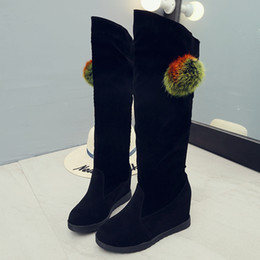 Wholesale tall canister boots - 2017 New Fashion Winter Women Boots Tall Canister Height Increasing Women Snow Boots Over The Knee Ladies Rhinestone High Heels