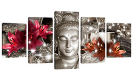 Wholesale painting wall orange - Amosi Art Wall Art Paintings Buddha Printing with Red and Orange Lily Flower Background for Home Decor Canvas Artwork on Framed
