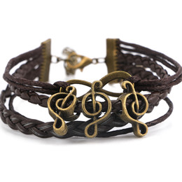 Новая мода ретро шарм гитара музыка античная медь кулон браслеты геометрические мужская кожа веревки цепи браслеты от