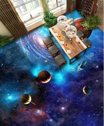 Wholesale Plastic Tile Flooring - 3D Floor Wallpaper Cosmic Galaxy Stars for Living Room Custom Photo Mural Wall Paper Roll PVC Bathroom 3d Floor Tiles Stickers