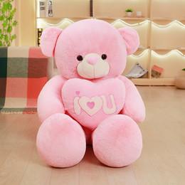 Wholesale Pink Stuffed Teddy Bears - Plush I Love You Teddy Bear Holding Heart 19.5inch Teddy Bear with Heart Toy Pink Purple Stuffed Soft Bear