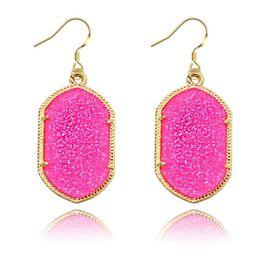 Wholesale green statement earrings - Fashion fluorescence geometry acrylic dangle earrings for girls color gem crystal drop earrings for women statement Jewelry 2018 in stock