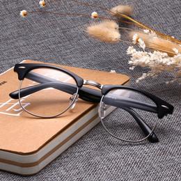 Nerd brille klare linsen online-NEUE ANKUNFT Klassische Retro Klare Linse Nerd Frames Brille Modemarke Designer Männer Frauen Brillen Vintage Halbe Metall Brillengestell
