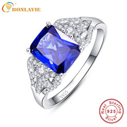 anello in zaffiro blu argento Sconti Anelli di fidanzamento blu con tanzanite 3 s Emerald Cut 925 Anello in argento con zaffiro Taglia 6.7.8.9 Gioielli d'amore per le donne