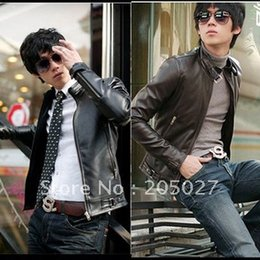 Wholesale leather jacket for short men - HIGH QUALITY freeshipping SIZE S M, L, XL, XXL, XXXL ! fashion stand collar slim mens leather jacket for Autumn and winter