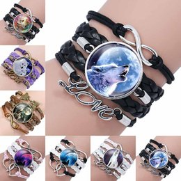 Wholesale Dome Jewelry - Black Color Gothic Wolf Moon Glass Dome Charm Bracelet Bangle Jewelry Love Boy Men Handmade Sirius Accessories drop shipping 320045