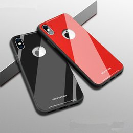 Wholesale Iphone Plastic Bumper - For iPhone X 8 10 6 6S 7 plus TPU Frame Bumper glass case Luxury 9H Hardness Tempered Glass Glossy Phone Case Shockproof Back Cover