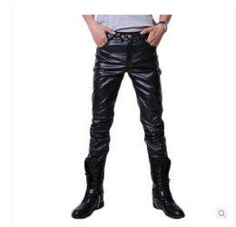 Pantalones cortos calientes online-Hombres todo fósforo de la moda Pantalones Pantalones pantalones locomotora pantalones de cuero PU caliente personaje coreano
