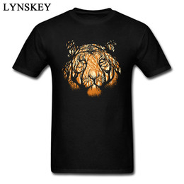 T-shirt imprimé tigre en Ligne-Mode 2018 Hommes Caché Hunter Tigre Imprimer T-shirt Motif Animal Art Design Top T-shirts Pur Coton Tissu