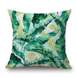 2019 almofadas tropicais 12 Estilos de Folhas De Palmeira Tropical Capa de Almofada Folha Verde Aquarela Decorativa Linho Bege Fronha Proteção Para Os Olhos Quarto Sofá Decoração almofadas tropicais barato