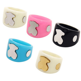 Wholesale rings fine jewelry - Trendy Women Stainless steel Acrylic fashion finger ring 5 colours Fine quality four sizes for women brand jewelry rings Mujer OSOS anillo