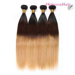 Pelo malayo virgen marrón recto online-Ombre 1B 4 27 Virgin Peruvian Human Hair Extensions 4 Bundles Straight Dark Roots Marrón Honey Blonde Malaysian Indian Hair Trama