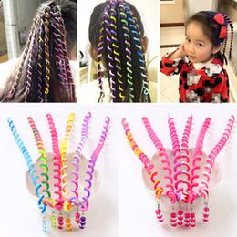 17fe9049 6 Chicas de color Twist Hair Tool DIY Accesorios para el cabello con estilo  con cuentas multicolor niños moda rizado cinturón de pelo tejido banda B